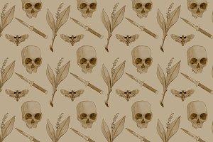Knife/Skull/Flower/Moth pattern