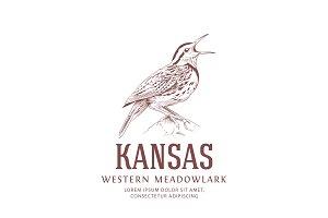 Vintage Logo. Kansas State Bird