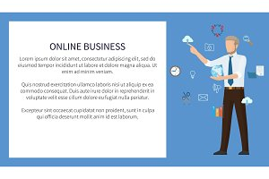 Online Business Poster Color Vector