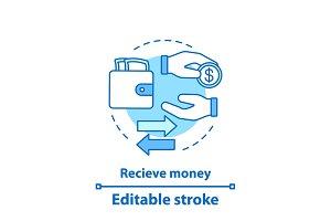 Receive money concept icon