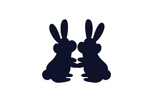 Bunnies Together Silhouette Vector