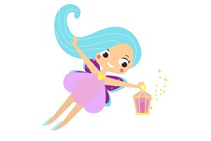 Cute fairy with magic lantern