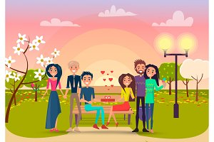 Happy cartoon Couples in Park at