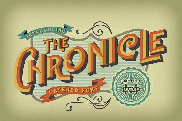 Display Fonts - The Chronicle - Layered Typeface