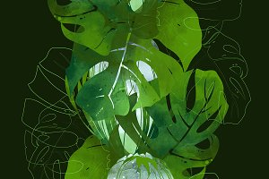 protea and monstera seamless | JPEG