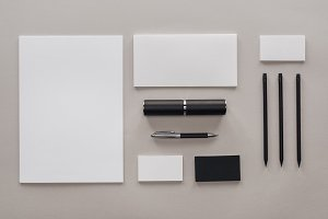 flat lay with blank white papers, ca