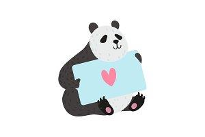 Cute Panda Bear Holding Greeting