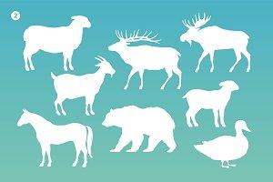 Animals silhouette set. White