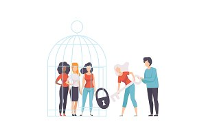 Women Opening Cage with Young Women