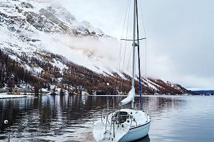 Sailing boat parked on Lake Sils