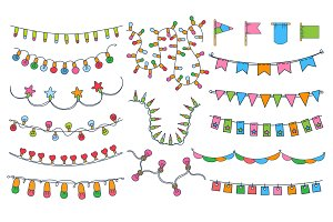 Colorful bunting, party flags