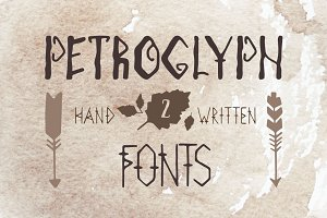 Hand drawn 2 fonts. Petroglyphs.