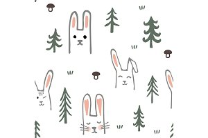 Seamless pattern with sweet bunnies