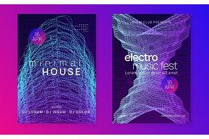Neon club flyer. Electro dance music