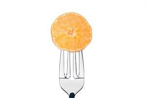 circle slice of fresh juicy mandarin