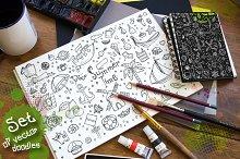 Set of vector summer doodles