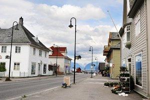 Street of Vik village, Norway