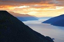 Norwegian fjord aerial view