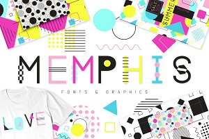 Memphis Fonts and Graphics