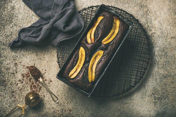 Chocolate banana bread cake with