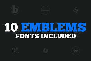 10 Emblems, Fonts Included • 50% off
