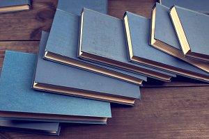 books in a blue cover