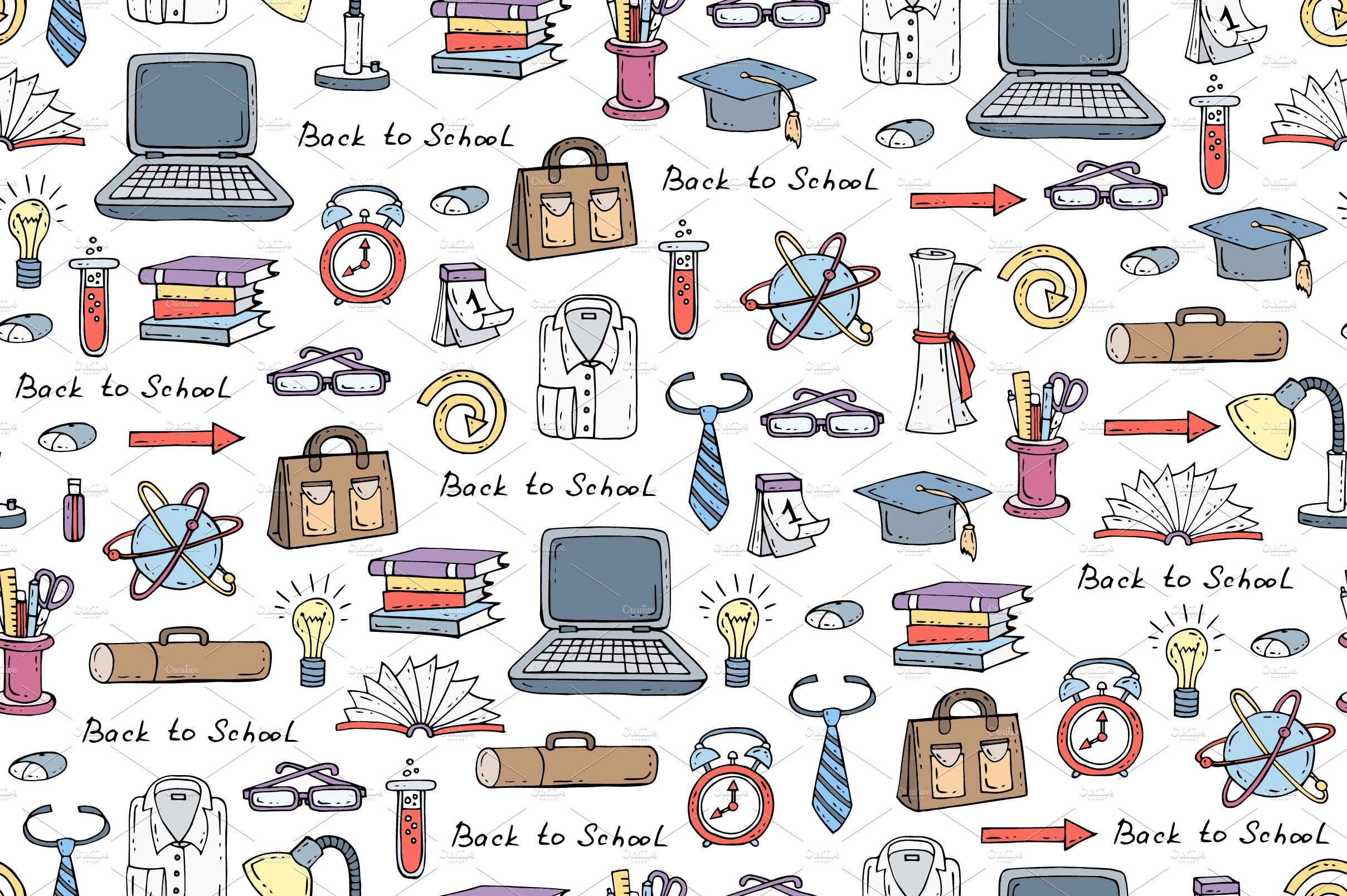Pattern With Symbols Of Education Graphic Patterns Creative Market