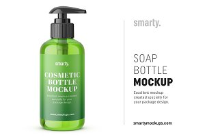 Green soap bottle mockup