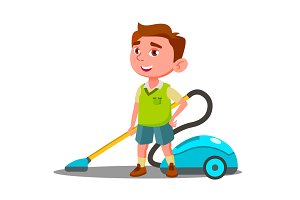 Little Boy With Vacuum Cleaner Helps