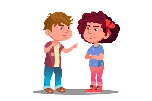 Little Boy And Girl Offended On Each
