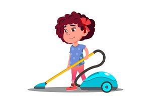 Little Girl Vacuuming Floor In House