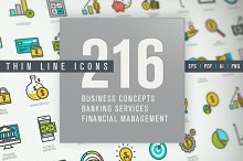 Set of Thin Line Icons for Finance