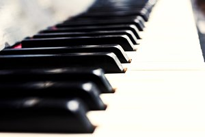 Close up piano keys black and white