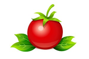 Tomato. Ripe vegetable with leaf.