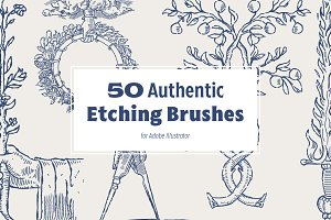 50 Authentic Etching Brushes