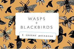 Wasps + Blackbirds Pattern