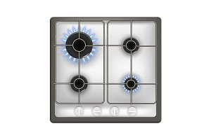 Realistic Detailed 3d Gas Stove.