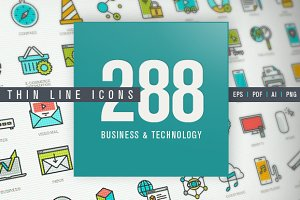 Thin Line Icons Set for Technology