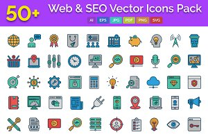 50+ Web and SEO Vector Icons pack