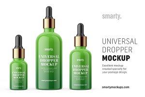 Dropper bottle mockup / silver cap