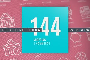 Set of Thin Line Icons for Shopping