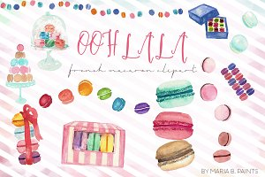 French Macaron Clip Art - Watercolor