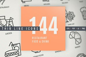Thin Line Icons for Food & Drink