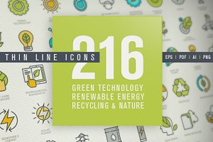 Thin Line Icons for Green Technology