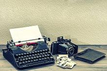 Antique typewriter and camera