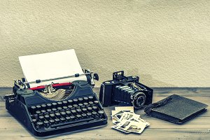 Antique typewriter and camera