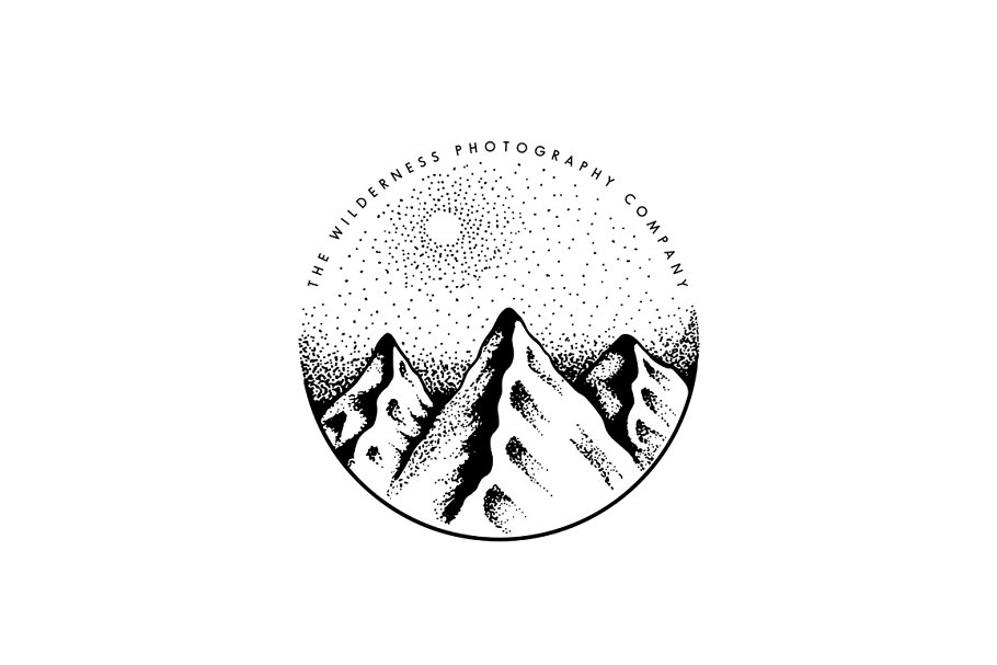 Hand Drawn Mountain Logo EPS PSD