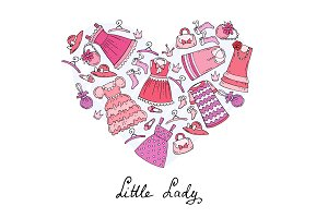 Heart with clothes for little girls