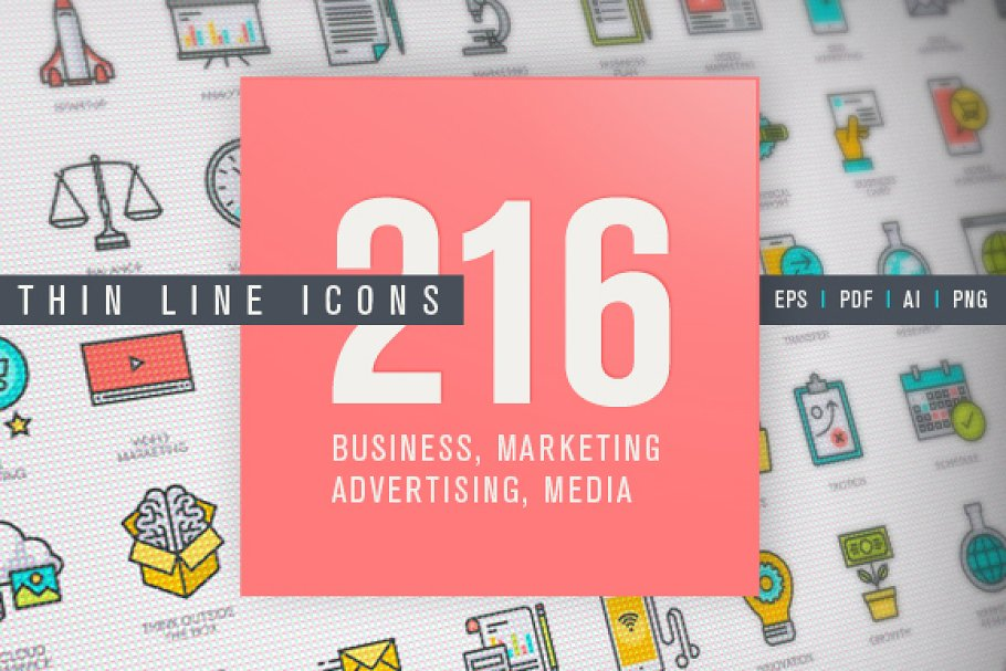 Thin Line Business & Marketing Icons