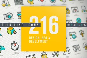Thin Line Design & Development Icons